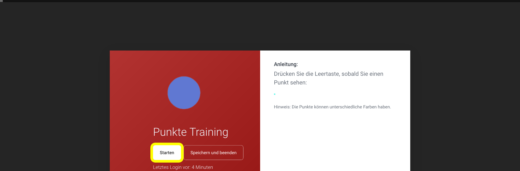 Punkte Training